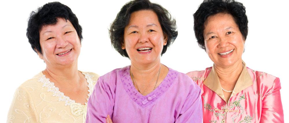 three asian senior